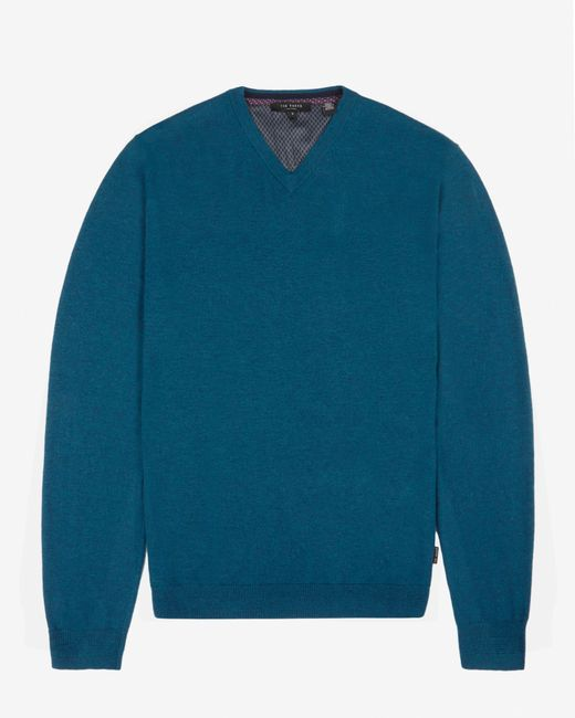 Ted Baker | Blue Cashmere Blend V-neck Jumper for Men | Lyst