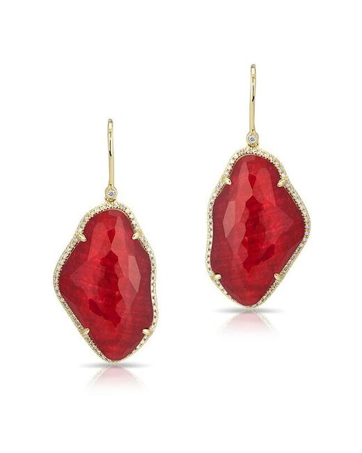 Anne Sisteron - Red 14kt Yellow Gold Ruby Nuage Diamond Earrings - Lyst