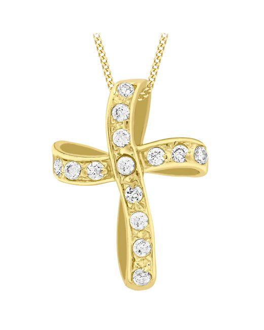 Ib&b | Metallic 9ct Yellow Gold Twisted Cubic Zirconia Cross Pendant | Lyst