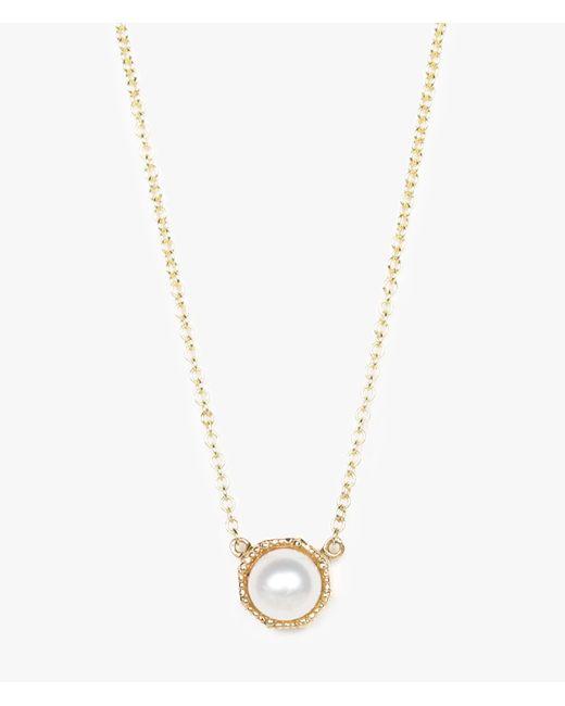 Grace Lee | Metallic Crown Bezel Pearl Necklace | Lyst