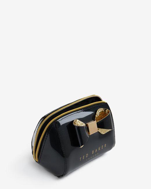 Ted Baker | Black Glitter Bow Trim Small Wash Bag for Men | Lyst