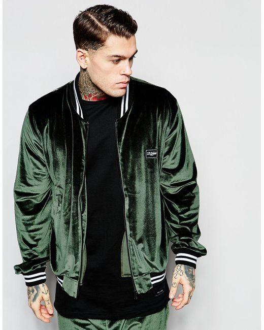 Jaded London Velour Bomber Jacket In Green For Men Khaki
