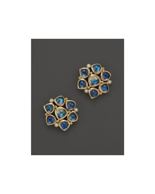 Temple St. Clair | 18k Yellow Gold Small Cluster Earrings With Royal Blue Moonstone And Diamonds | Lyst