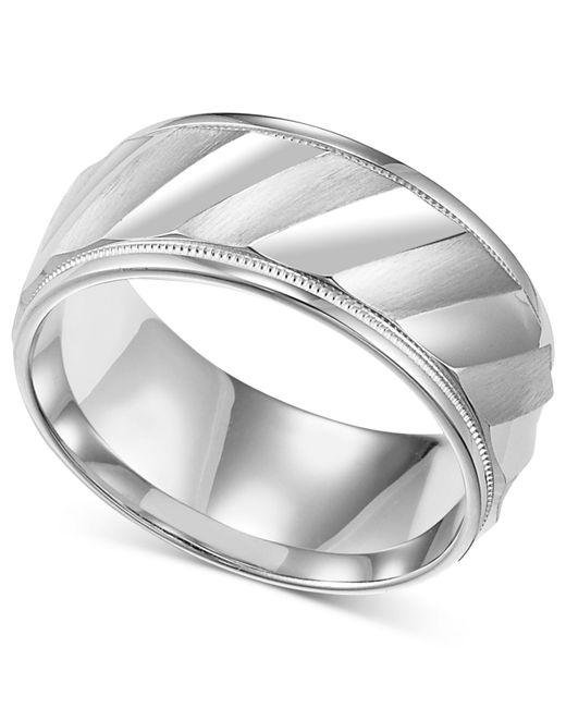 Macys Mens Sterling Silver Ring Diagonal Stripe Wedding Band In Metallic For Men