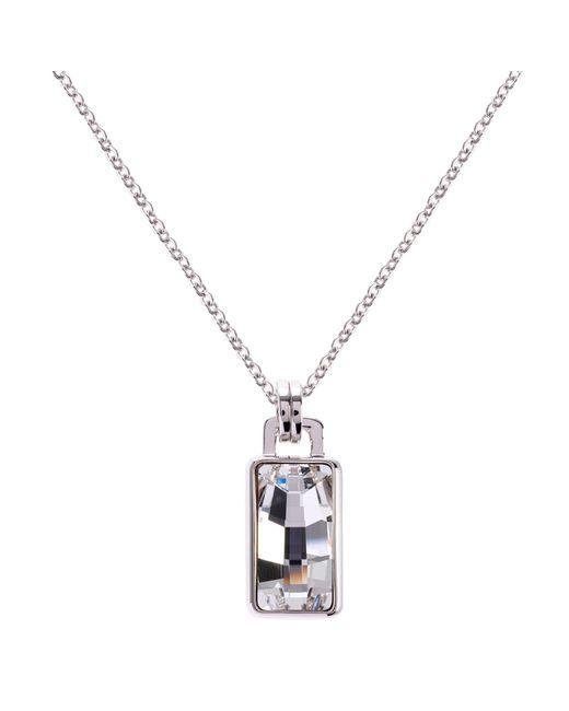 Karen Millen | Metallic Luxe Oblong Crystal Pendant Drop Necklace | Lyst
