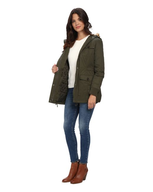 Levi's   Green Coated Cotton Four-pocket Hooded Parka W/ Sherpa Lining   Lyst
