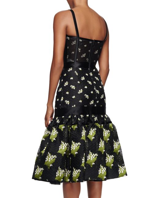 Alexander mcqueen embroidered floral corset dress in black