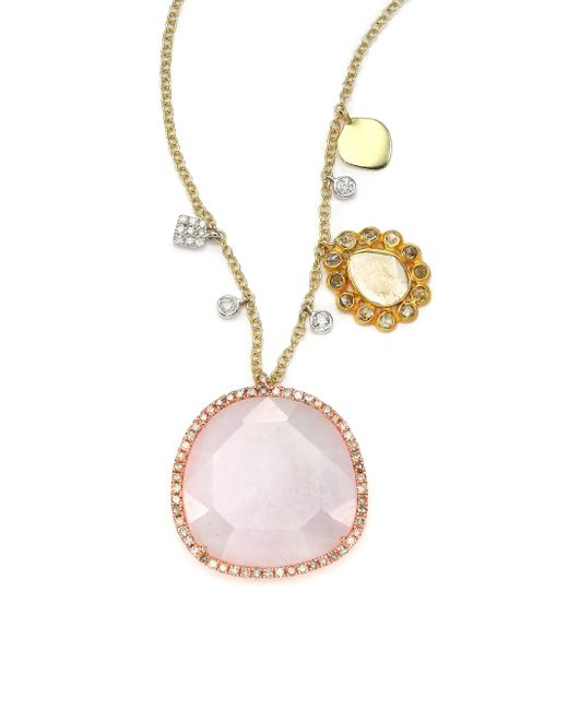 Meira T | Metallic Purple Jade, Diamond, 14k White, Yellow & Rose Gold Pendant Necklace | Lyst