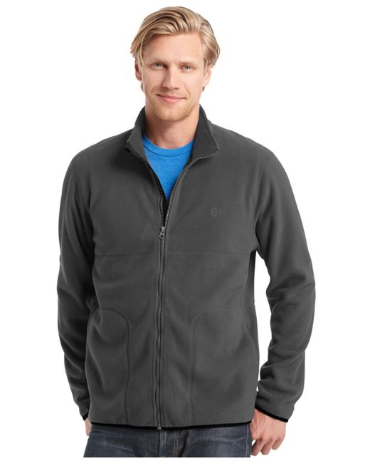 Izod Big And Tall Full Zip Fleece Jacket In Gray For Men