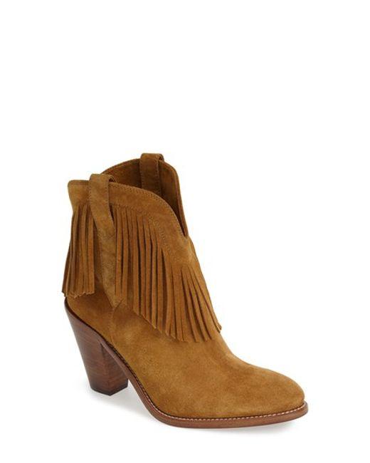laurent new western fringe boot in brown