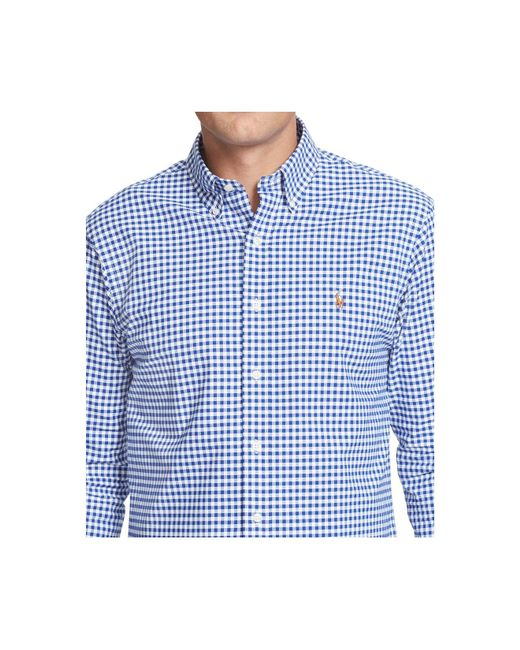 Polo ralph lauren men 39 s big tall short sleeve checked for Big and tall oxford shirts