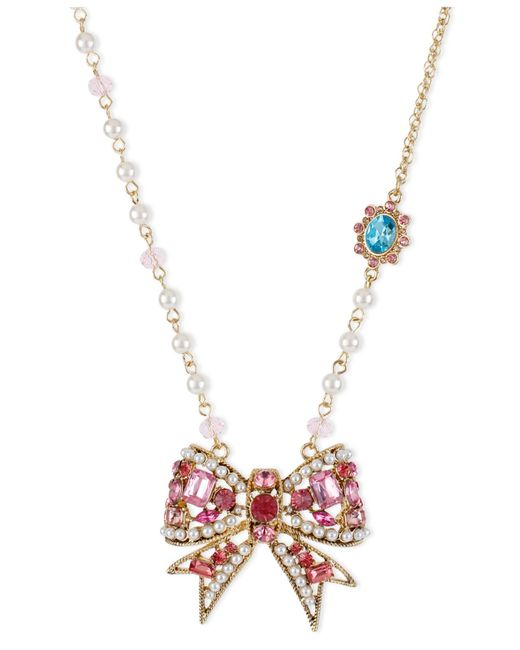 Betsey Johnson | Metallic Antique Gold-tone Crystal Bow Pendant Necklace | Lyst
