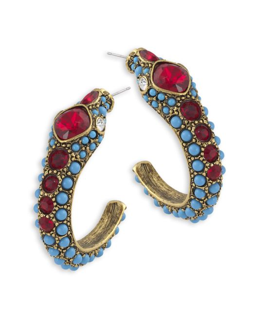 Kenneth Jay Lane | Multicolor Turquoise Snake Hoop Pierced Earring | Lyst