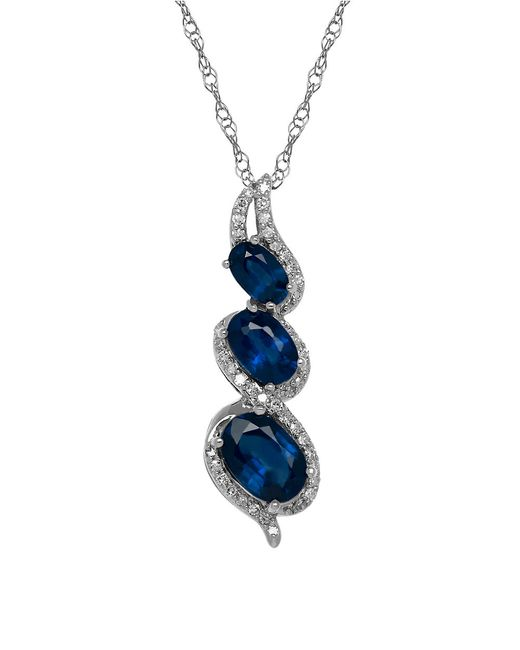 Lord & Taylor | Blue Sapphire, Diamond And 14k White Gold Necklace | Lyst