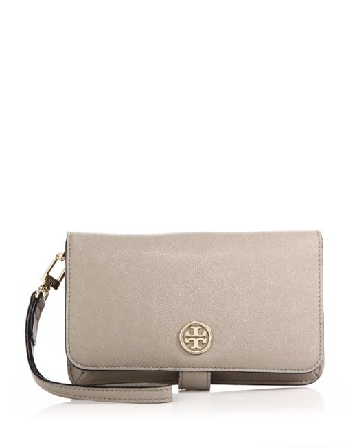 Tory Burch | Gray Robinson Saffiano Leather Smartphone Wristlet | Lyst