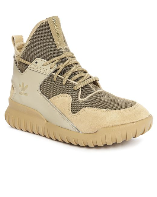 adidas originals beige tubular x mesh suede sneakers in. Black Bedroom Furniture Sets. Home Design Ideas