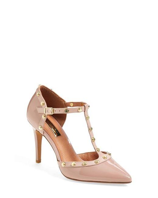 Halogen | Pink 'Martine' Studded T-Strap Pumps | Lyst