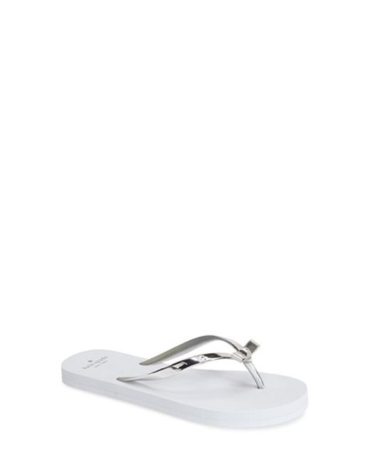 kate spade new york | Metallic 'happily' Flip Flop | Lyst