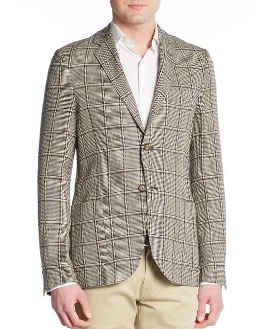 Atelier scotch skinny fit plaid linen sportcoat in gray for Atelier maison scotch
