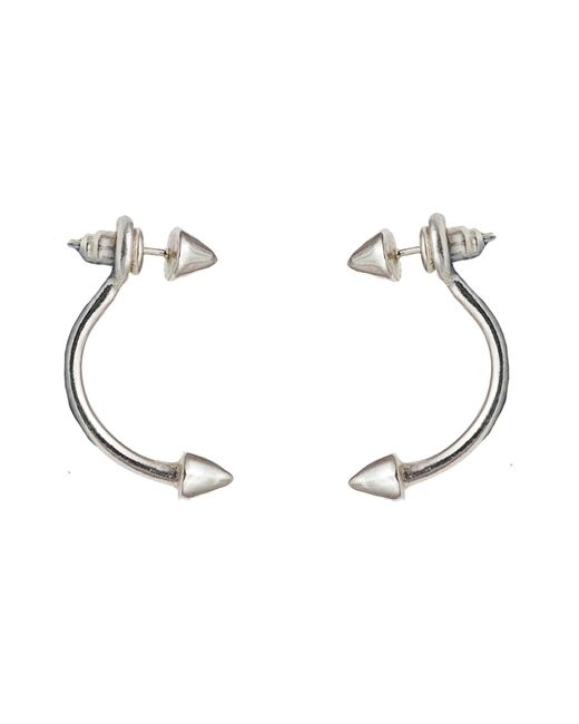 Bernard Delettrez | Metallic Silver Double Stud Earrings | Lyst