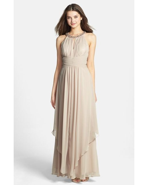 Eliza J | Natural Embellished Tiered Chiffon Gown | Lyst