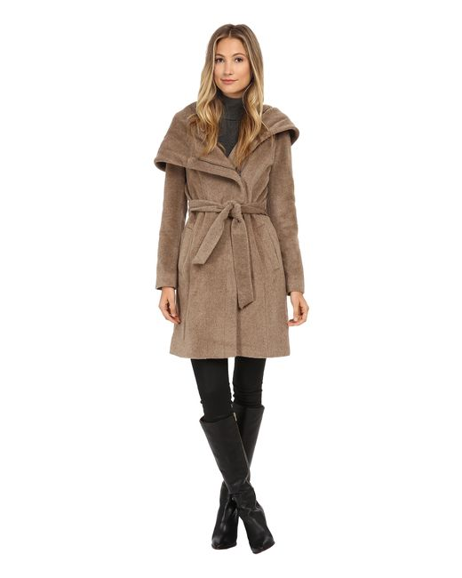 Cole Haan | Brown Belted Coat With Oversized Hood | Lyst
