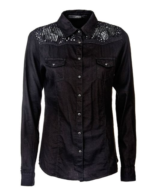 Guess | Black Cotton Blend Shirt With Embroidery | Lyst