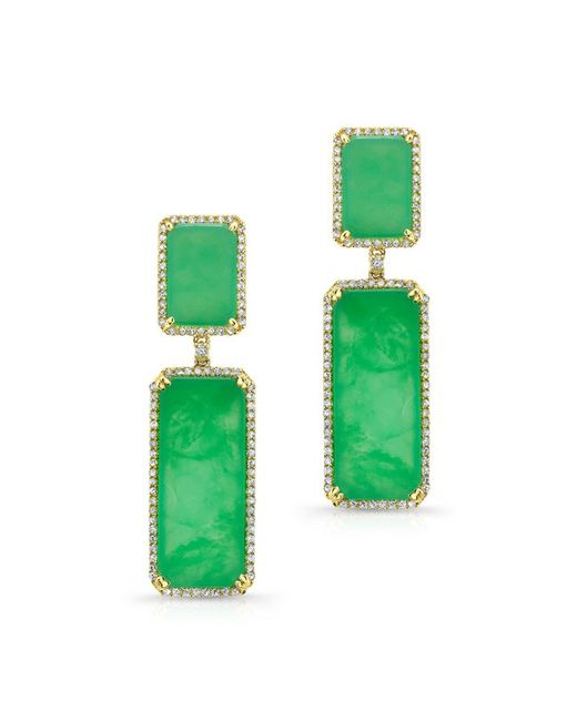 Anne Sisteron | Green 14kt Yellow Gold Chrysoprase Diamond Anna Earrings | Lyst