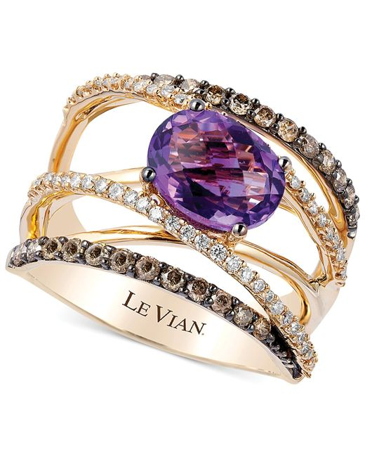 Le Vian | Purple Amethyst (1-3/8 Ct. T.w.)and Diamond (3/4 Ct. T.w.) Crossover Ring In 14k Gold | Lyst