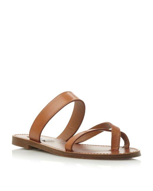 Steve Madden | Brown Aintso Sm Strappy Ring Toe Flat Sandal | Lyst