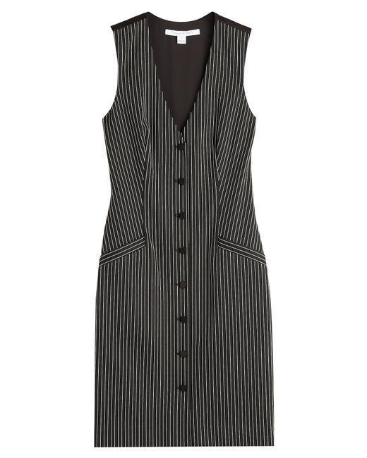 Diane von Furstenberg | Black Pinstriped Dress - Stripes | Lyst