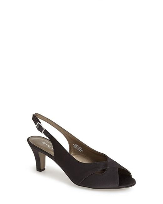 David Tate | Black Palm Slingback Satin Sandals | Lyst