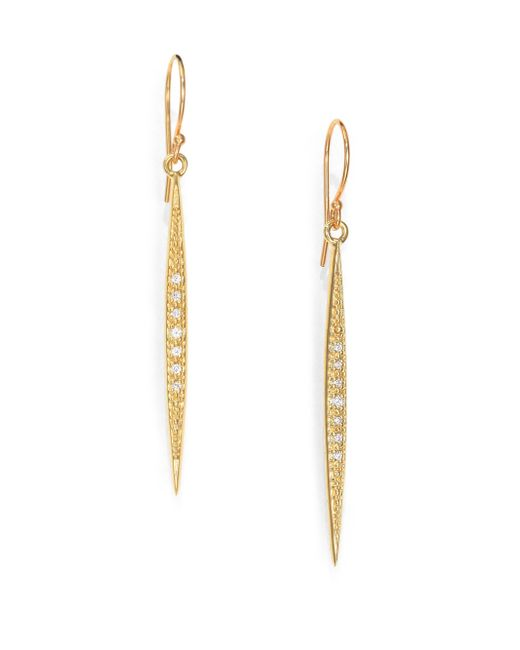 Mizuki | Metallic Icicle Diamond & 14k Yellow Gold Drop Earrings | Lyst