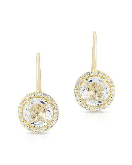 Anne Sisteron - Metallic 14kt Yellow Gold Round White Topaz Diamond Earrings - Lyst