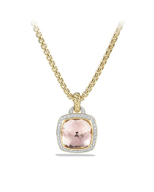 David Yurman | Metallic Albion Pendant With Morganite And Diamonds In 18k Gold, 14mm | Lyst