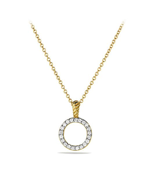 David Yurman | Metallic Cable Collectibles Circle Pendant Necklace With Diamonds In 18k Gold | Lyst