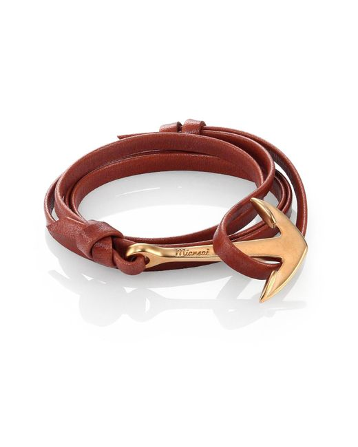 Miansai | Brown Anchor Leather Bracelet/matte Goldtone for Men | Lyst