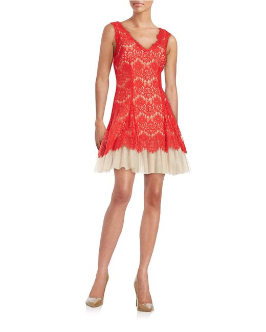 Betsy & Adam | Red Lace Fit-and-flare Dress | Lyst