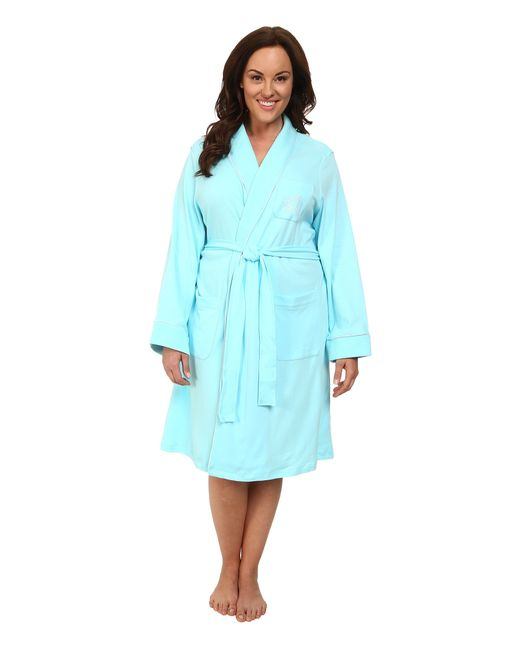 Lauren by Ralph Lauren | Blue Plus Size Essentials Quilted Collar And Cuff Robe | Lyst