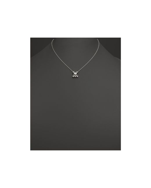 "Roberto Coin   Metallic 18k White Gold Diamond Skull & Crossbones Pendant Necklace, 16""   Lyst"