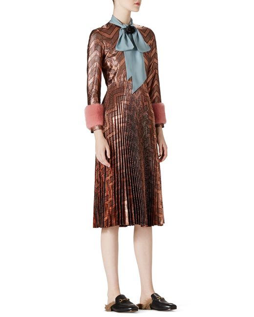 Gucci   Animal Zigzag Metallic Plisse Dress   Lyst
