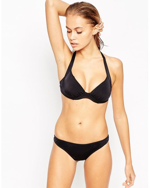 ASOS | Mix And Match Underwired Ruched 50s Bikini Top - Black | Lyst