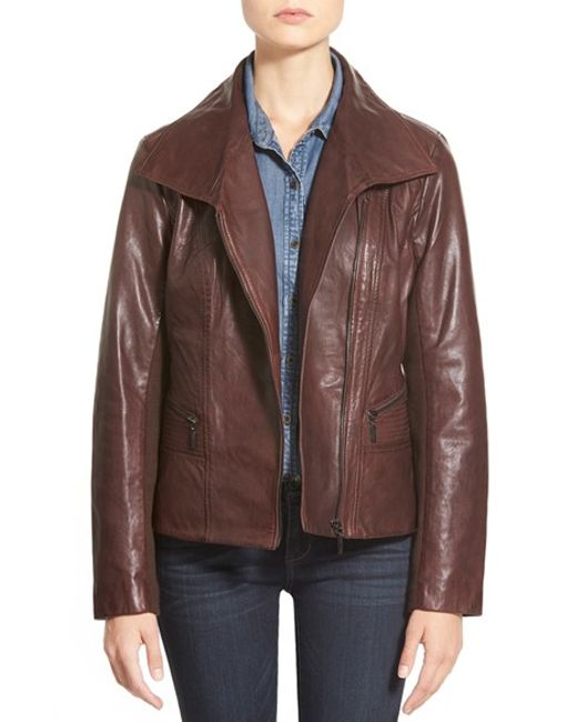 Bernardo | Brown Wing Collar Leather Moto Jacket | Lyst