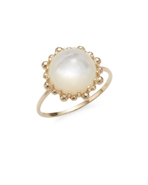 Anzie | Metallic Dew Drop Mother-of-pearl & 18k Yellow Gold Ring | Lyst