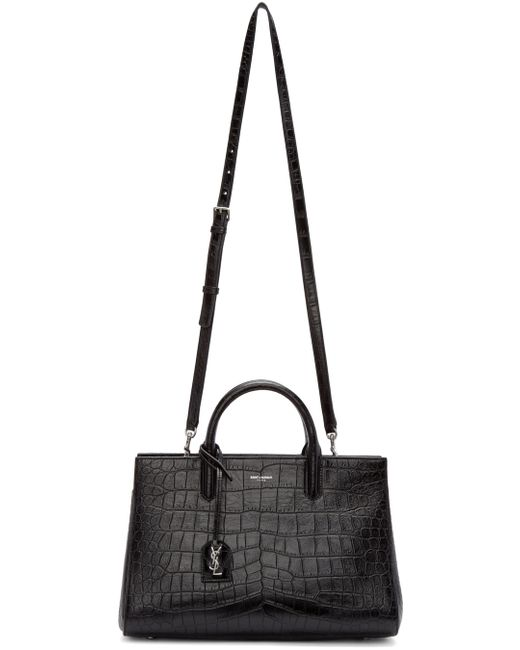 ysl cabas red - small cabas rive gauche bag in black grained leather