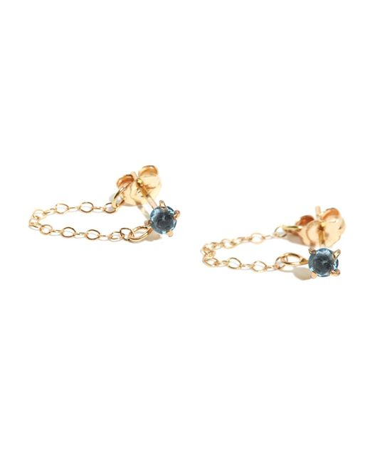 Melissa Joy Manning | Sky Blue Topaz Post Earrings With Chain Wrap | Lyst