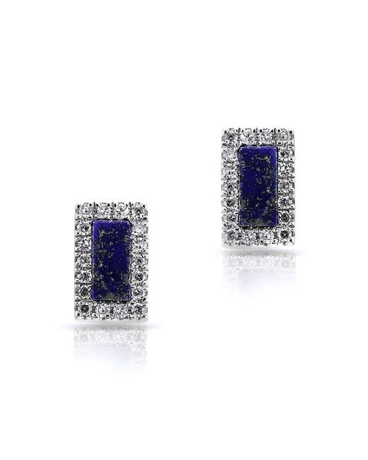 Anne Sisteron | Blue 14kt White Gold Lapis Diamond Bar Stud Earrings | Lyst
