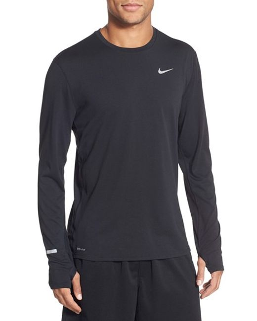 Nike | Black Contour Long-Sleeved Dri-fit Running T-shirt for Men | Lyst