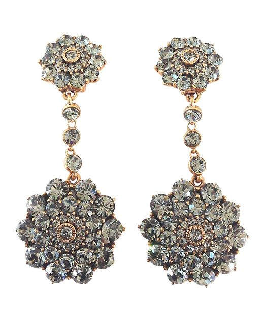 Oscar de la Renta | Metallic 'classic Jeweled' Swarovski Crystal Drop Earrings | Lyst
