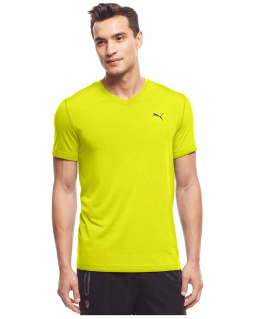 Puma Men 39 S Essential V Neck T Shirt In Yellow For Men Lyst